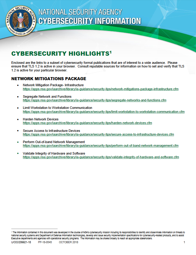 Info Sheet: 2018 Cybersecurity Highlights (October 2018)
