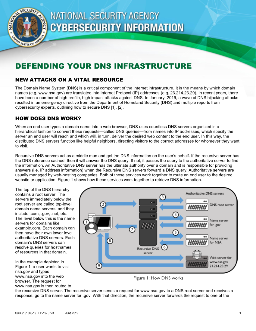 Info Sheet: Defending Your DNS Infrastructure (June 2019)