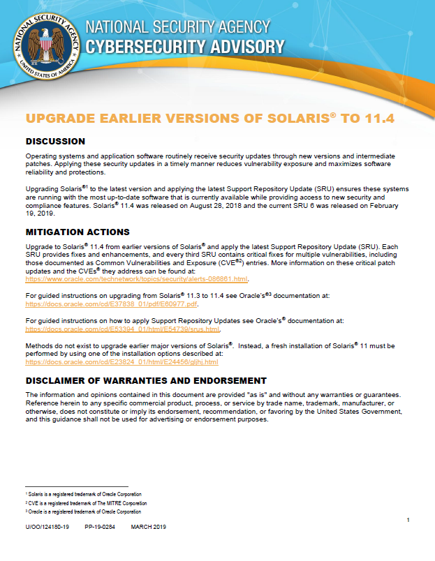Advisory: Update Earlier Versions of Solaris to 11.4 (March 2019)