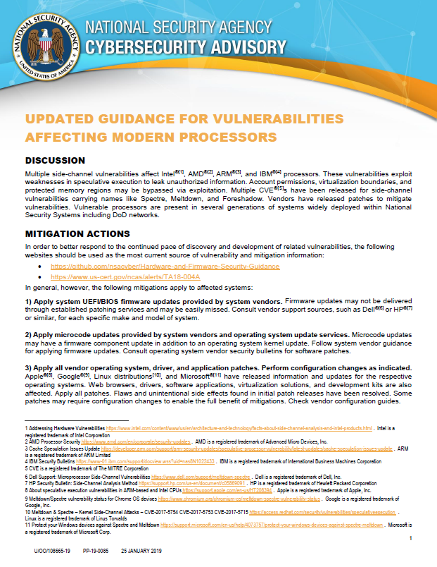 Advisory: Updated Guidance For Vulnerabilities Affecting Modern Processors (January 2019)