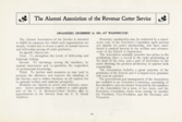 The Alumni Association of the Revenue Cutter Service, organized December 15, 1887 at Washington, D.C.  Information printed in the 1905 Tide Rips, p. 14.