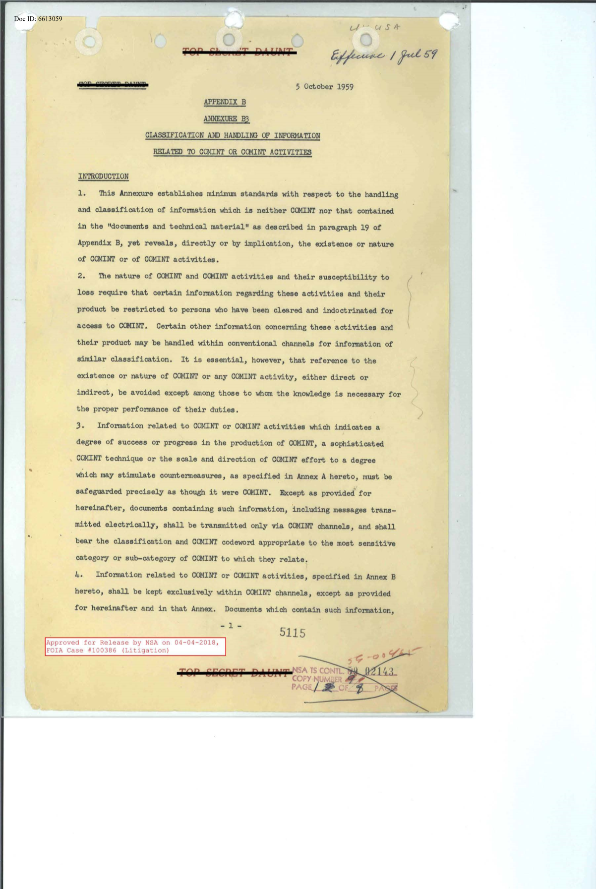 CLASSIFICATION_AND_HANDLING_OF_INFORMATION_RELATED_TO_COMINT_OR_COMINT_ACTIVITIES_APPENDIX_B_ANNEXURE_B3_5_OCTOBER_1959.PDF